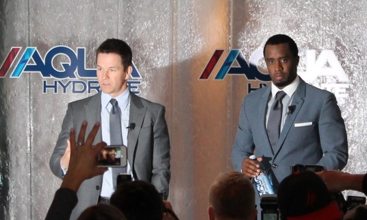 Mark Wahlberg and Sean Comb speak to the media at the AQUAhydrate press conference.  Courtesy of AQUAhydrate's facebook page.